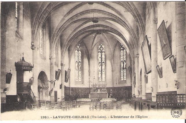 Carte postale de l'intérieur de l'église Sainte-Croix