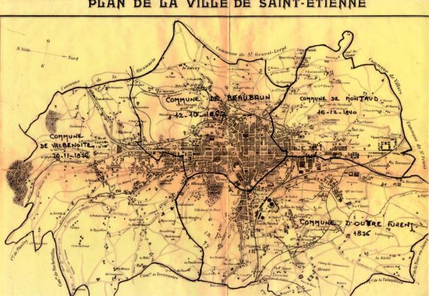 Carte indiquant les anciennes communes rattachées à Saint-Etienne au 19e siècle