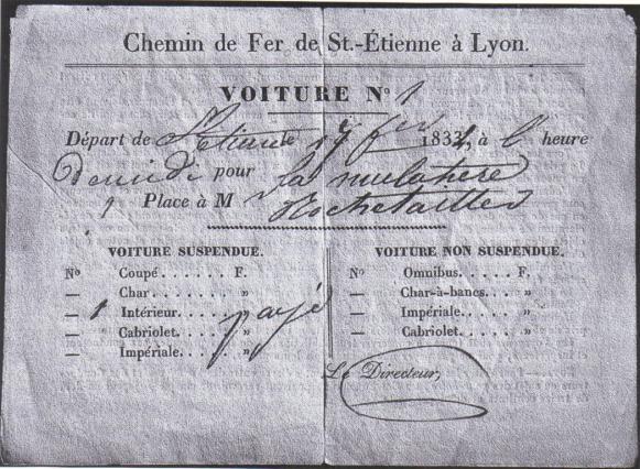 Billet de train de 1834 conservé au Musée du vieux Saint-Étienne