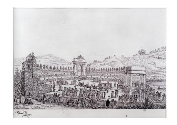 Dessin de la fête de la Pierre du Roy – Hôpital-sous-Conflans (aujourd'hui Albertville), 1824, Prosper DUNAND. coll Musée d'art et d'histoire d'Albertville