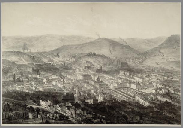 Saint-Étienne ville industrielle, gravure de 1860