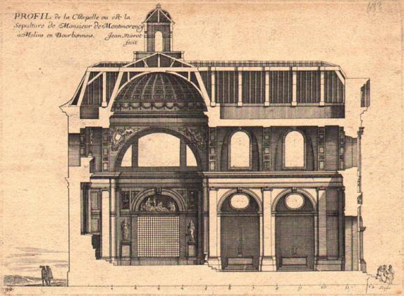 Vue d'ensemble de la chapelle de la Visitation de Moulins, rue de Paris