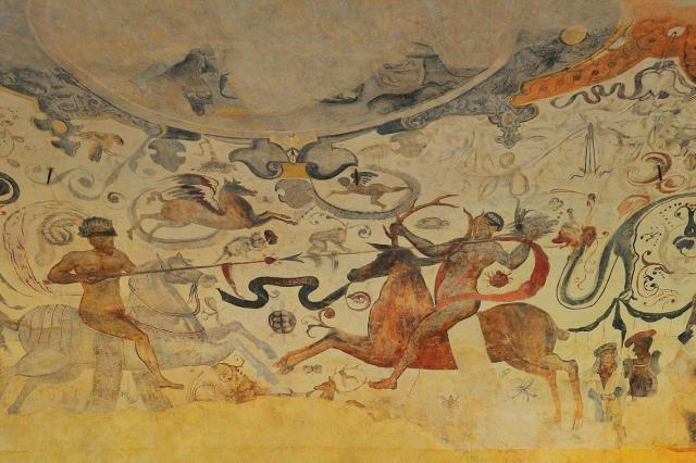 Joute équestre et les grotesques - Détail de la voûte des écuries - 16e siècle