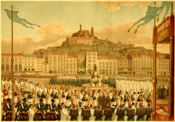 Inauguration de la statue Notre-Dame de France, lithographie de Daniel Vicens, vers 1860