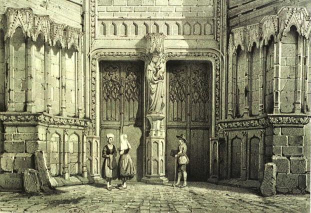 Portail, église Notre-Dame du Marthuret, gravure ancienne