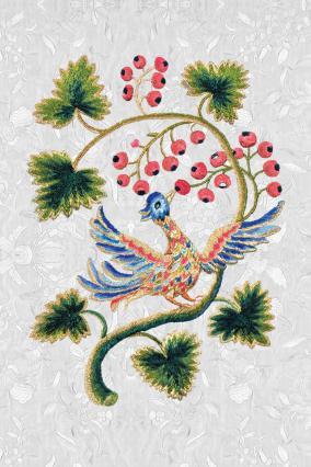 Oiseau du paradis, soie, 18e siècle