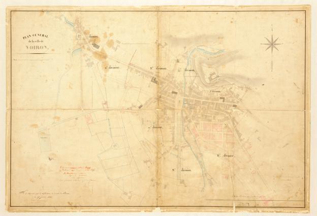 Plan général de la ville de Voiron en 1842