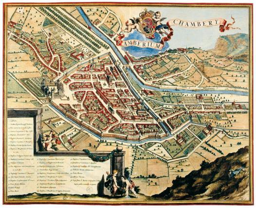 Représentation de la ville au 17e siècle: la ville est protégée par le château et les remparts.