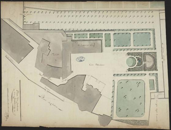 Plan du château de Chambéry après les incendies, Trivelly, non daté