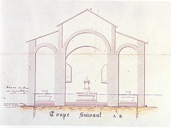 Indication du niveau d'eau lors de l'inondation de l'église de Valbenoîte en 1849