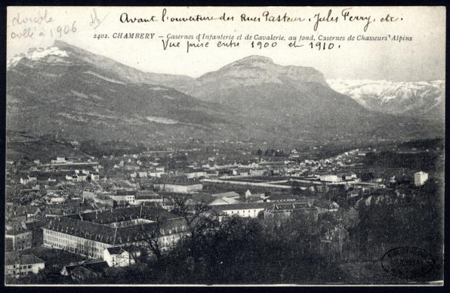 Chambéry. Casernes d'Infanterie, de Cavalerie et de Chasseurs alpins; médiathèque de Chambéry
