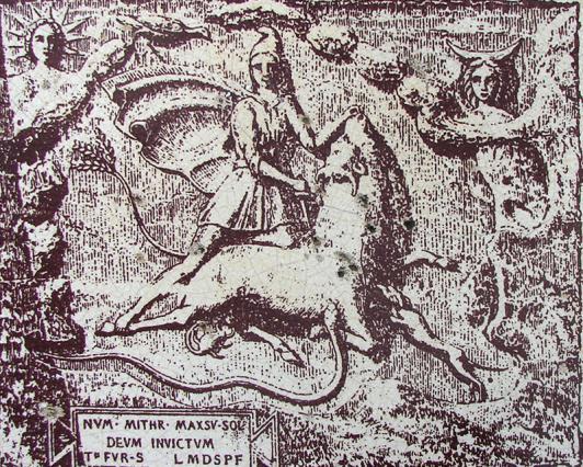 Gravure du bas-relief du dieu Mithra de Bourg-Saint-Andéol