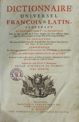 Page de garde du Dictionnaire de Trévoux