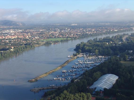 Vue aérienne de l'actuel pont Frédéric Mistral