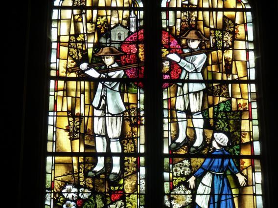 La roue de fleurs, vitrail, 1980