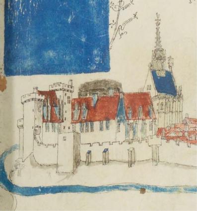 Château et Sainte Chapelle, vue de Guillaume Revel, 1450