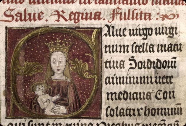 Heures à l'usage de Sarum, détail Vierge à l'Enfant