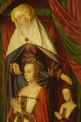 Retable ouvert, panneau de droite: Anne de France avec Suzanne présentées par Sainte Anne