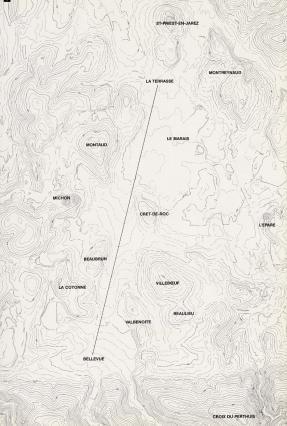 Plan topographique de Saint-Étienne avec les courbes de niveaux Issu de la BD Alti
