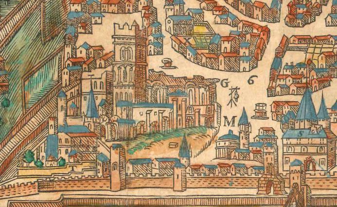 Une cathédrale ruinée, d'après la Cosmographie de Belleforest. 1575. Coll. Jacques Benevise.