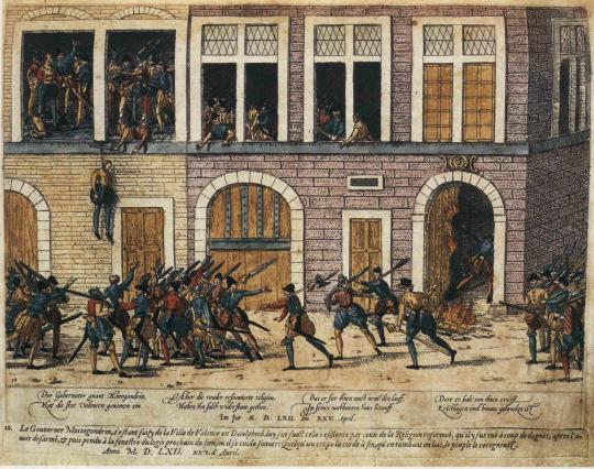 Assassinat du lieutenant général du Dauphiné Lamotte Gondrin en 1562 à Valence. Coll. Médiathèque de Valence.