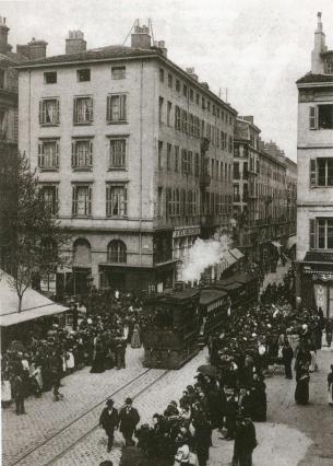 Tramway à vapeur au début du 20e siècle