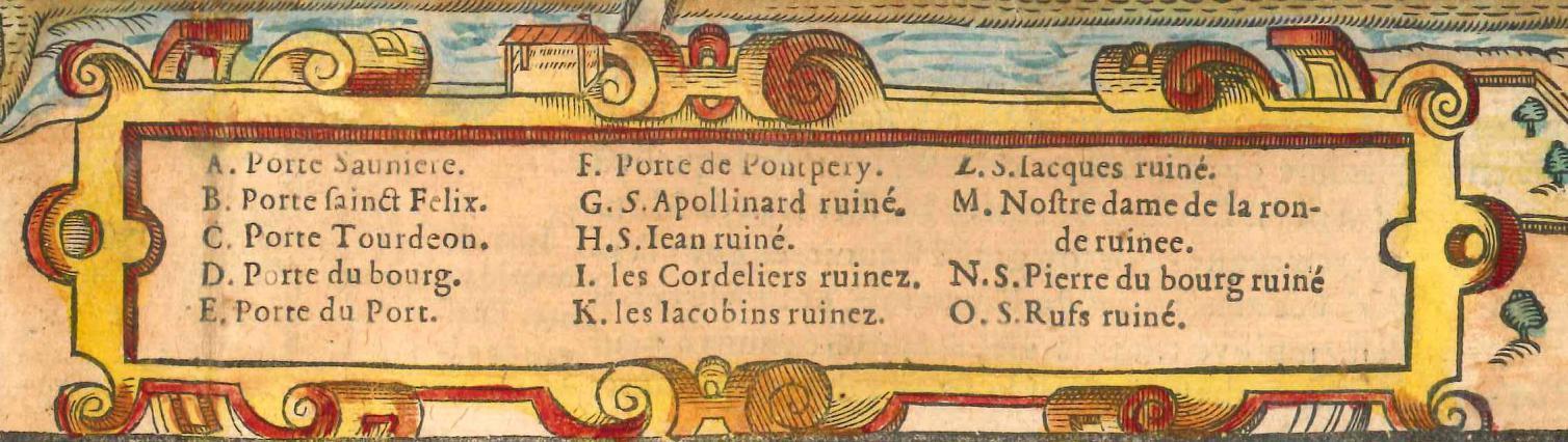 Les églises ruinées de Valence. Cosmographie de Belleforest 1575. Coll. Jacques Benevise.