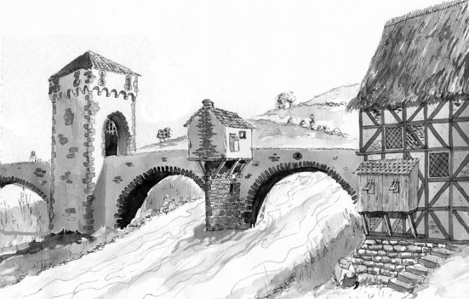 Pont vieux avec la tour et la recluserie