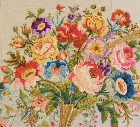 Bouquet multicolore italien, soie, fils d'or, fin du 19e siècle