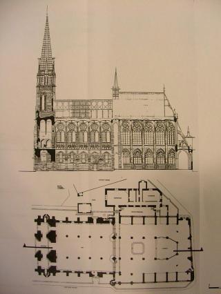 Plan et coupe longitudinale de la cathédrale, relevé ACMH-Archives départementales de l'Allier-