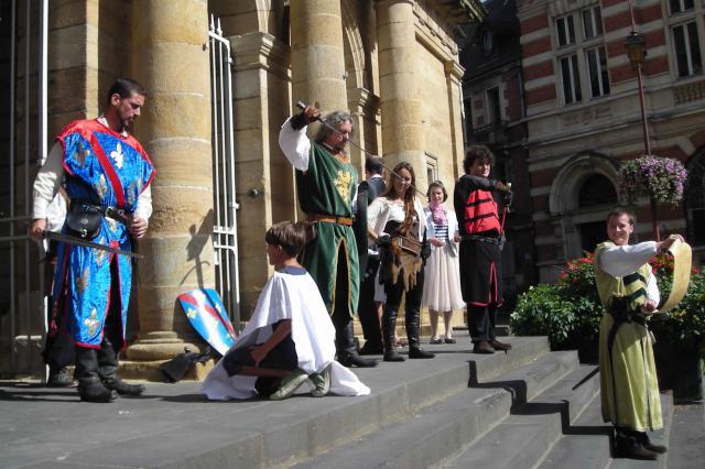 Atelier Louis II de Bourbon et la chevalerie, scène d'adoubement