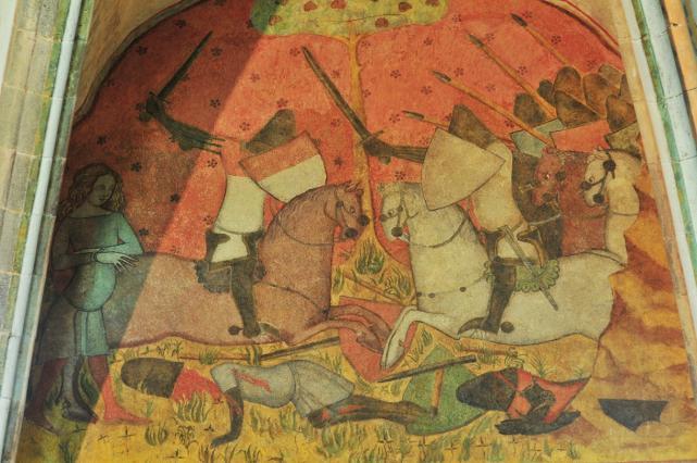 Partie haute du panneau central, Palamède délivrant Tristan