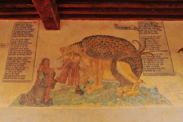 Peinture et le dit de la Bigorne datant du début du 16e siècle
