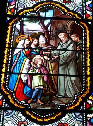 Vitrail de l'église Notre-Dame-Pierre de Montboissier présenté au prieur de Sauxillanges
