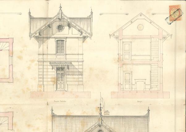Extrait du plan et élévations par l'architecte Coustard, 1882