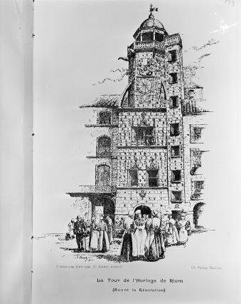Dessin de la tour de l'Horloge XIXe siècle