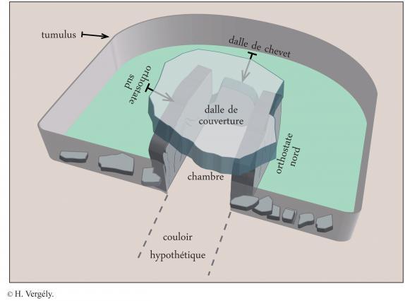 Schéma du dolmen après étude archéologique