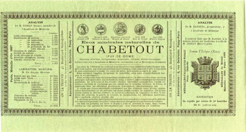 Reproduction d'une étiquette d'eau minérale de Chabetout