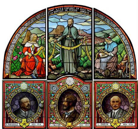 Vitrail de Charles Borie représentant les initiateurs du renouveau de la dentelle du Puy au 19e siècle