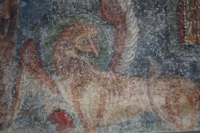 Détail du lion de Saint Marc, intérieur du prieuré