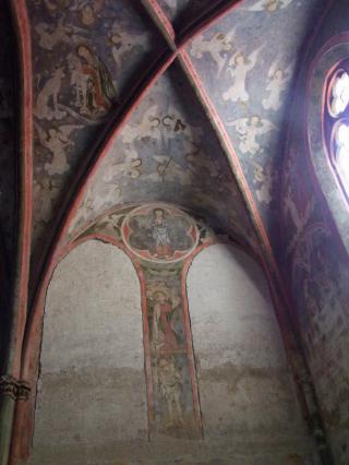 Voûte peinte de la chapelle des Aycelin, collégiale Saint-Cerneuf