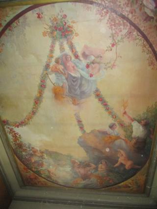 Décor du plafond de la cage d'escalier, allégorie de l'Epargne et de la Fortune