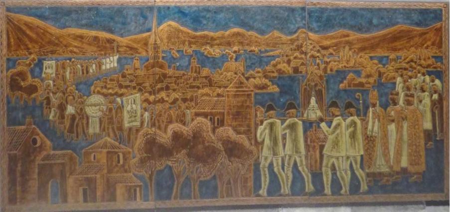 Procession de la Saint-Amable, autel en ave émaillée
