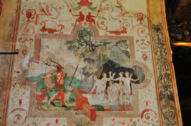 Scène représentant Actéon transformé en cerf par Diane, d'après les Métamorphoses d'Ovide - 16e siècle