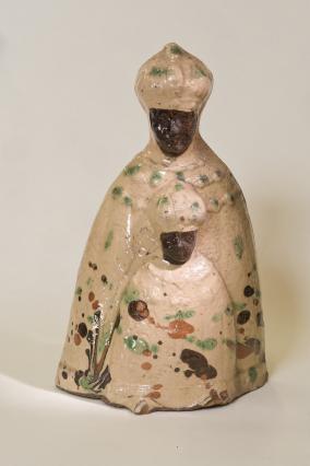 Vierge noire, statuette en terre vernissée produite à Brives, 19e siècle