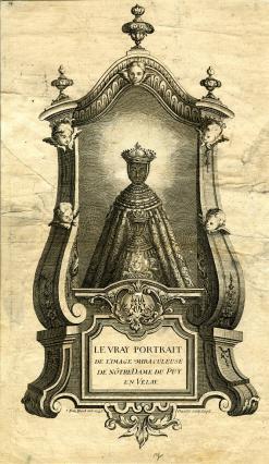 Gravure représentant la Vierge noire du Puy