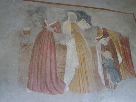 Bessans, chapelle Saint-Antoine, détail peintures murales extérieures, vices et vertus