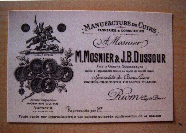 Carte de visite de la tannerie Dussour