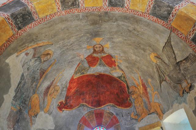 Détails des peintures du choeur de l'église de Saint-Hérent - Peinture du tétramorphe