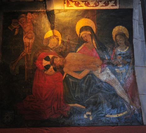 Peinture murale la Descente de Croix du 15e siècle, église Notre Dame de l'assomption